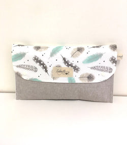 Grey and Aqua Feathers Nappy Wallet