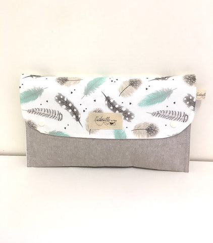Aqua and Grey Feather Nappy Wallet