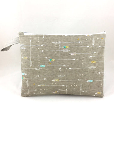 Wet Bag. Natural Linen With Arrow Print Large