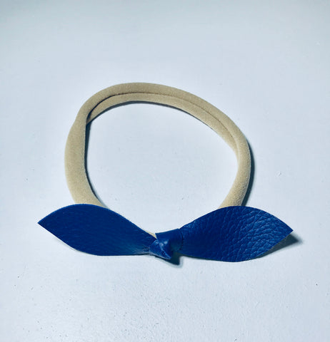 Headband. Navy Blue Leather Bow