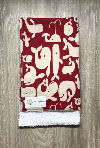 Burp Cloth. Red Whale