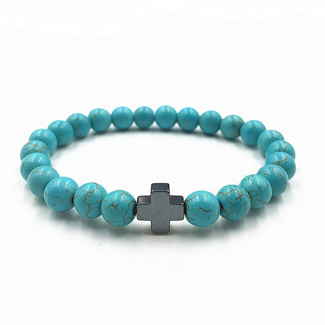 New Natural Stone Lava Beads Bracelet Fashion Men Women Cross