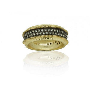 Thick Band Ring w/ Cunic Zirconia - Sanchaya Designs