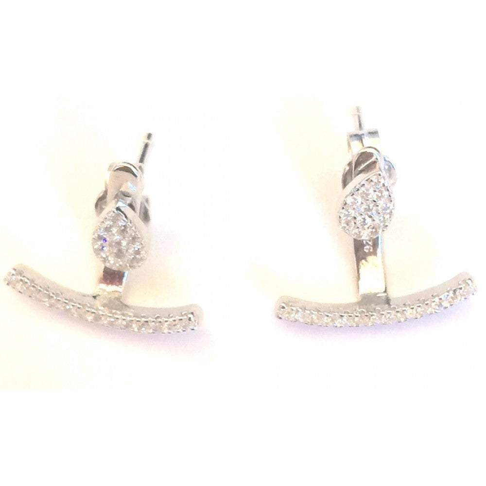 Clear Bar & Pear Cubic Zirconia Earrings - Sanchaya Designs