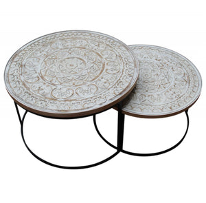 White Top Coffee Tables S/2