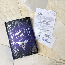 Bloodleaf with signed bookplate, author note, and map
