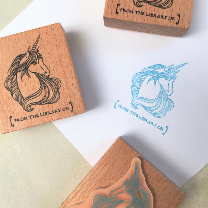 From the Library Of - Unicorn Rubber Stamp
