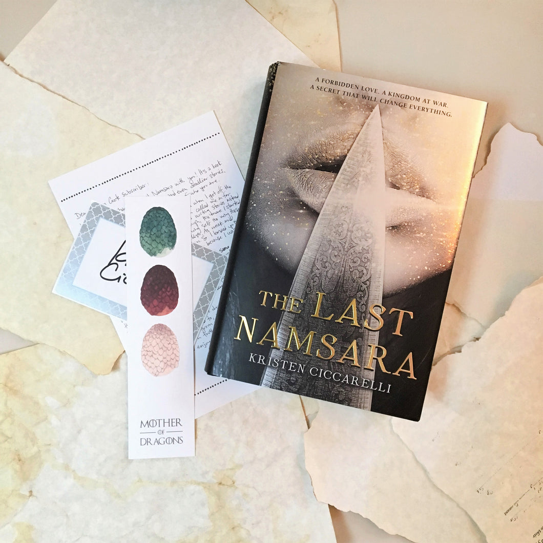 The Last Namsara with signed bookplate, author note, and bookmark