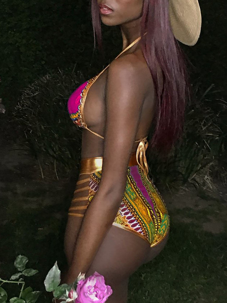 TRIBAL PRINT 2PC SWIM SUIT