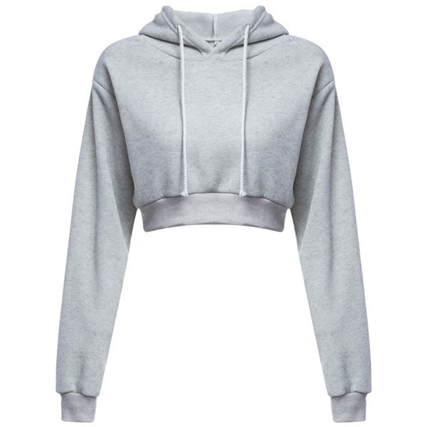 CROP TOP PULL OVER HOODIE