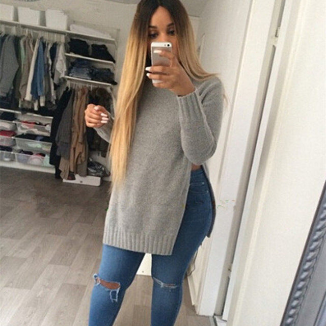long sleeve slit sweater
