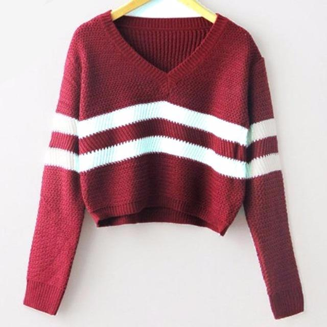 VARSITY STRIPED CROP TOP SWEATER