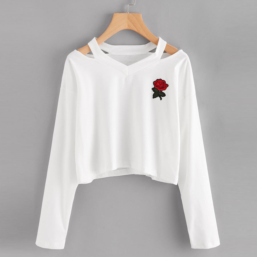 SMALL ROSE LONG SLEEVE CROP TOP