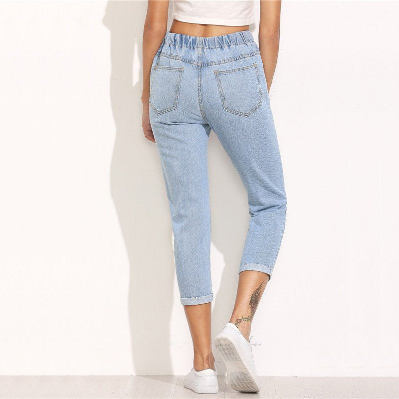 BLUE DRAWSTRING MID-CALF DISTRESSED JEANS