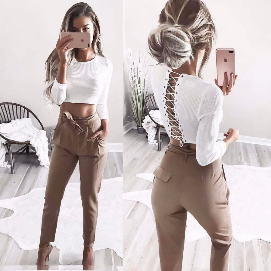 ASHLEY LACE UP CROP TOP