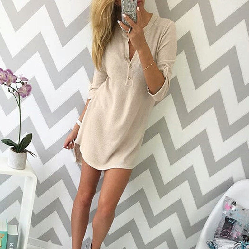 BUTTON UP LONG SLEEVE DRESS
