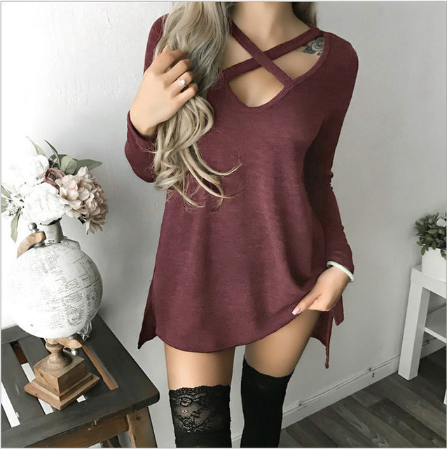 CROSSED CHOKER SWEATER DRESS