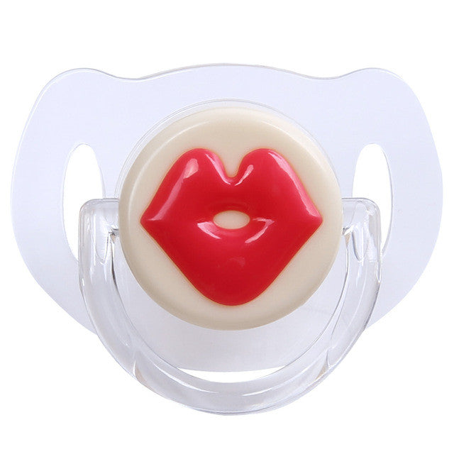 Baby Pacifier Red Lips Kisses