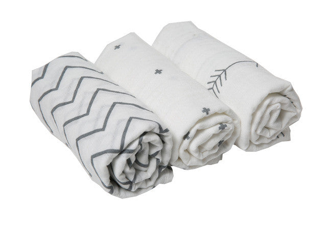 Muslin Baby Swaddle Blankets (3 Pack)