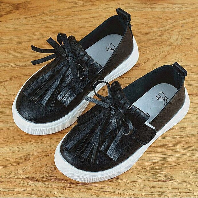 Baby Girls Leather Tassels Sneakers