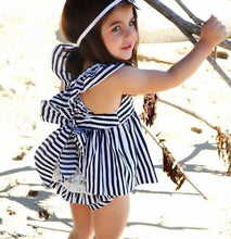 Striped Backless Dress Bow