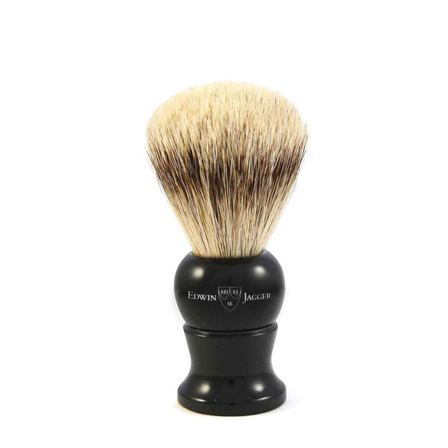 EDWIN JAGGER EBONY SUPER BADGER SHAVING BRUSH