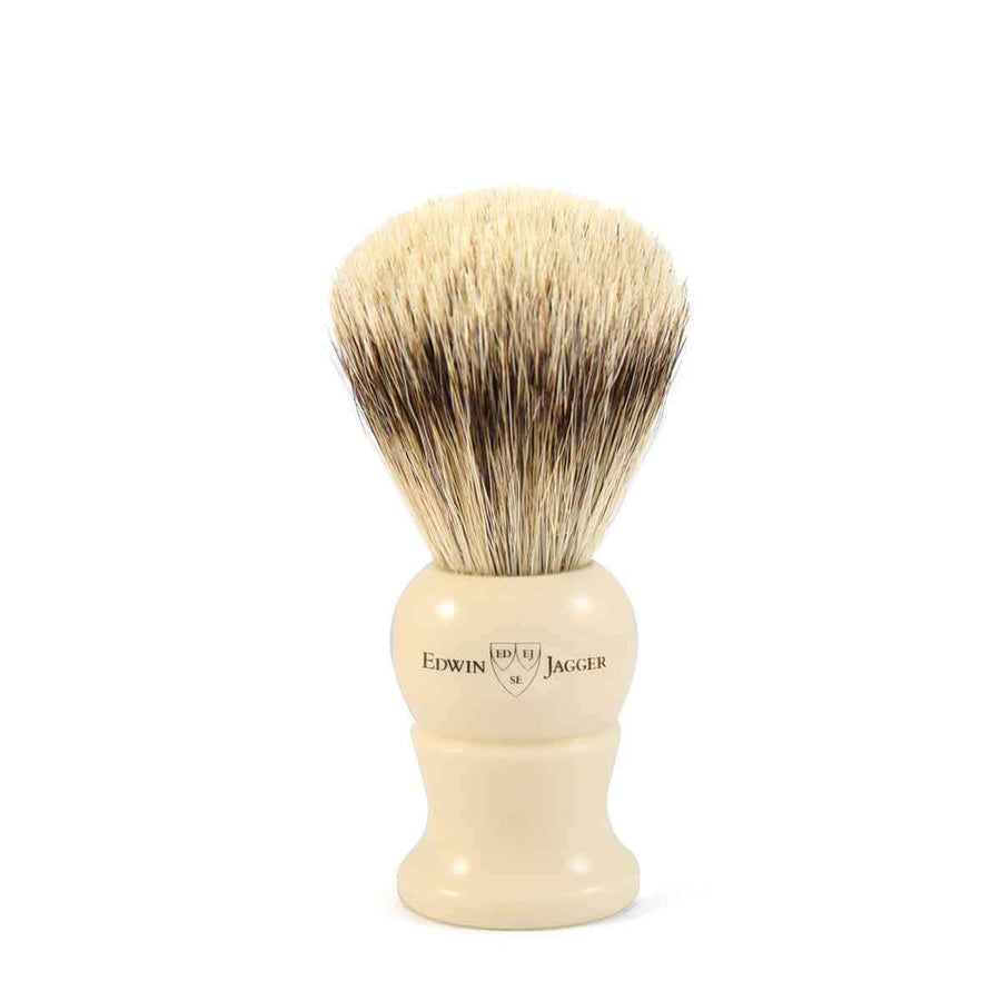 EDWIN JAGGER IVORY SUPER BADGER SHAVING BRUSH