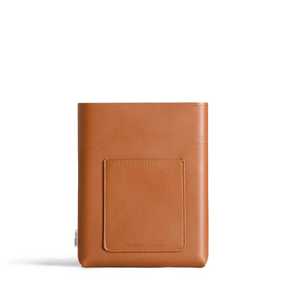 MEMOBOTTLE-A5-LEATHER-SLEEVE-TAN-FRONT