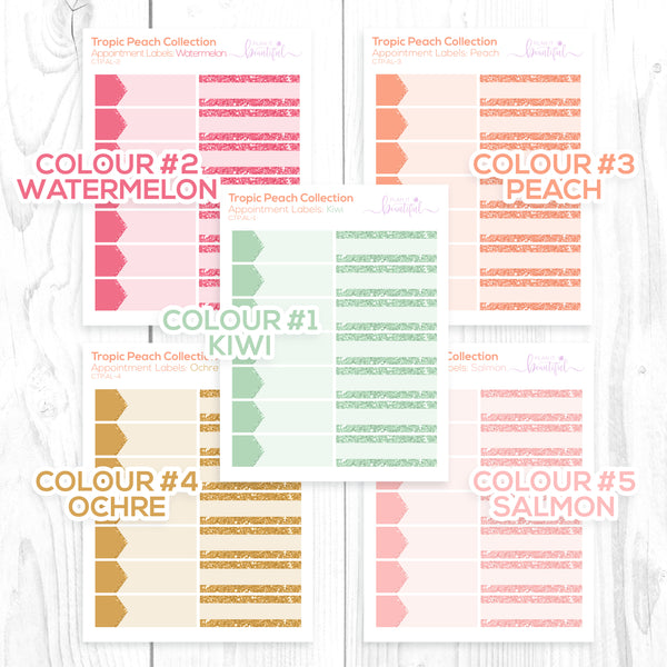 Tropic Peach Collection: Appointment Labels