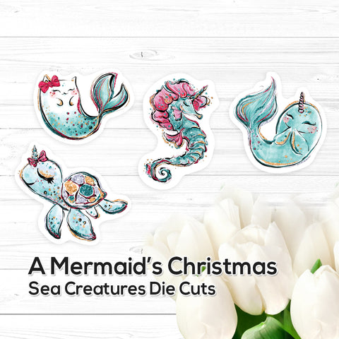 A Mermaid's Christmas: Sea Creatures - Die Cuts – Vinyl Stickers