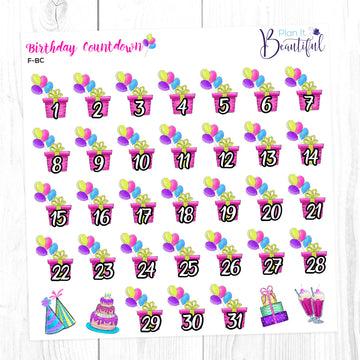 Birthday Countdown - Removable Vinyl - Stickers for Erin Condren Vertical Life Planner