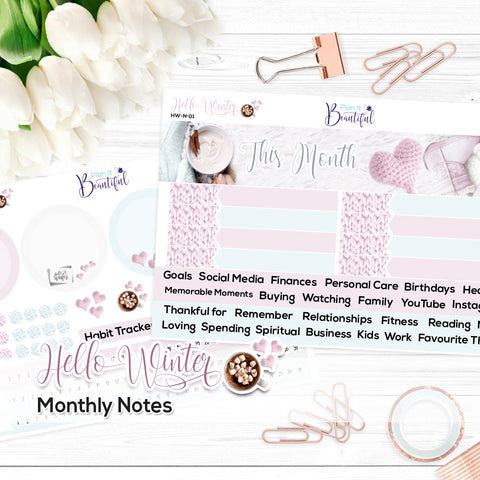 Hello Winter - Monthly Notes Kit