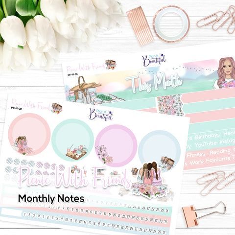 Picnic With Friends - Monthly Notes Kit