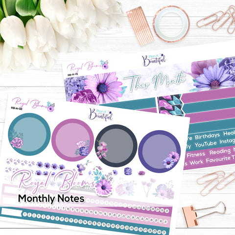 Royal Blooms - Monthly Notes Kit