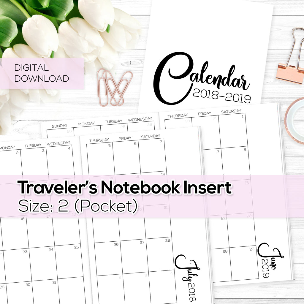 Monthly Calendar 2018-2019 - TN Inserts - Pocket / Size  No. 2 - Digital