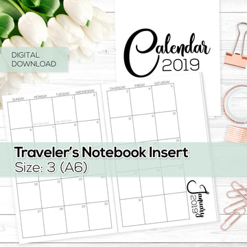 Monthly Calendar 2019 - TN Inserts - A6 / Size No. 3 - Digital