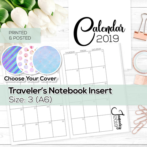 Monthly Calendar 2019 - TN Inserts - A6 / Size No. 3 - Printed & Posted