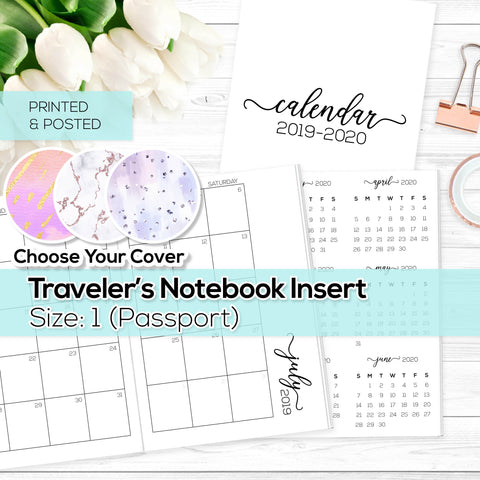 Monthly Calendar 2019-2020 - TN Inserts - Passport / Size No. 1 - Printed & Posted
