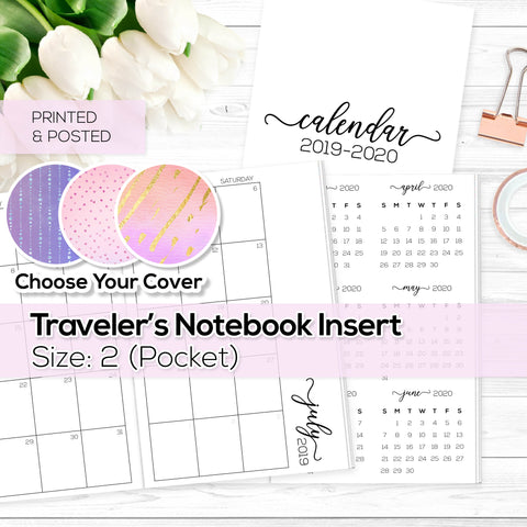 Monthly Calendar 2019-2020 - TN Inserts - Pocket / Size No. 2 - Printed & Posted