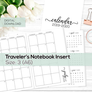 Monthly Calendar 2019-2020 - TN Inserts - A6 / Size No. 3 - Digital