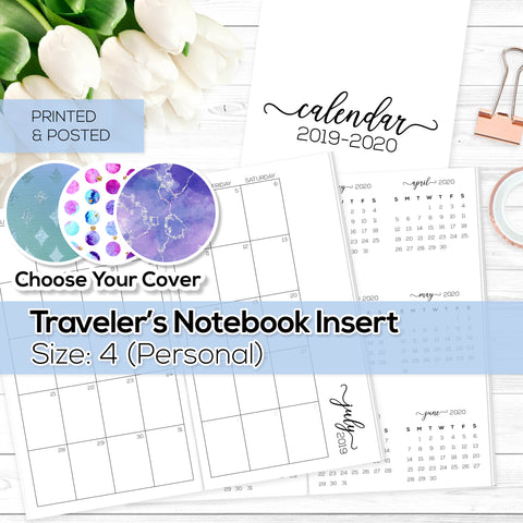 Monthly Calendar 2019-2020 - TN Inserts - Personal / Size No. 4 - Printed & Posted