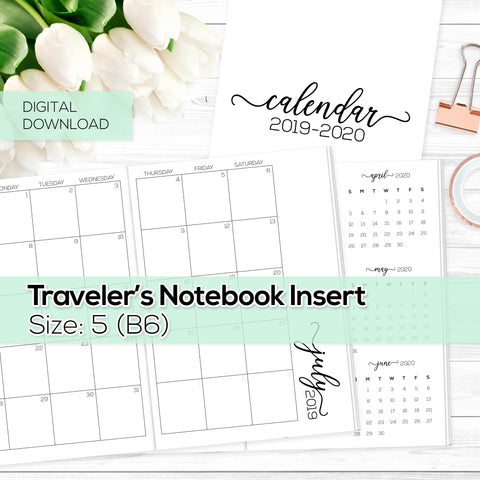 Monthly Calendar 2019-2020 - TN Inserts - B6 / Size No. 5 -  Digital