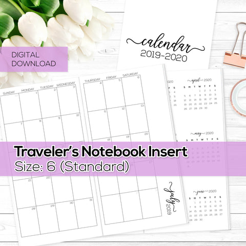 Monthly Calendar 2019-2020 - TN Insert - Standard / Size No. 6 - Digital