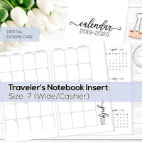 Monthly Calendar 2019-2020 - TN Inserts - Wide / Size No. 7 - Digital