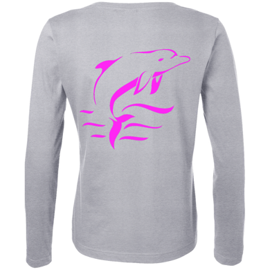 Pink Dolphin Ladies Long Sleeve Cotton TShirt