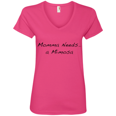 Momma Needs A Mimosa Ladies' V-Neck Tee
