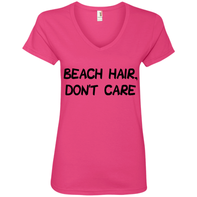 Beach Hair, Don't Care Ladies' V-Neck Tee
