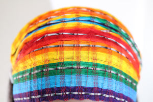 Headband- Rainbow with Black & White Stripes - Non-slip