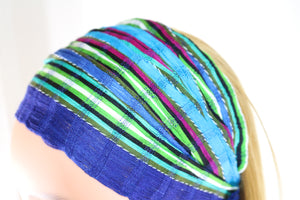 Headband - Blue, Green, & Magenta Striped Multicolor - Non-slip