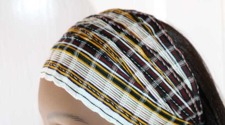 Headband - White, Gold, Maroon, & Blue Striped Multicolor - Non-Slip